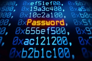 Conceptual image of a password amid hexadecimal code.