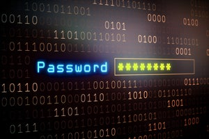 Conceptual image of password entry amid binary code.