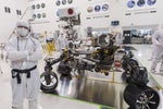 Rieber with Perseverance rover in High-Bay 1 Spacecraft Assembly Facility (SAF) clean room at JPL.
