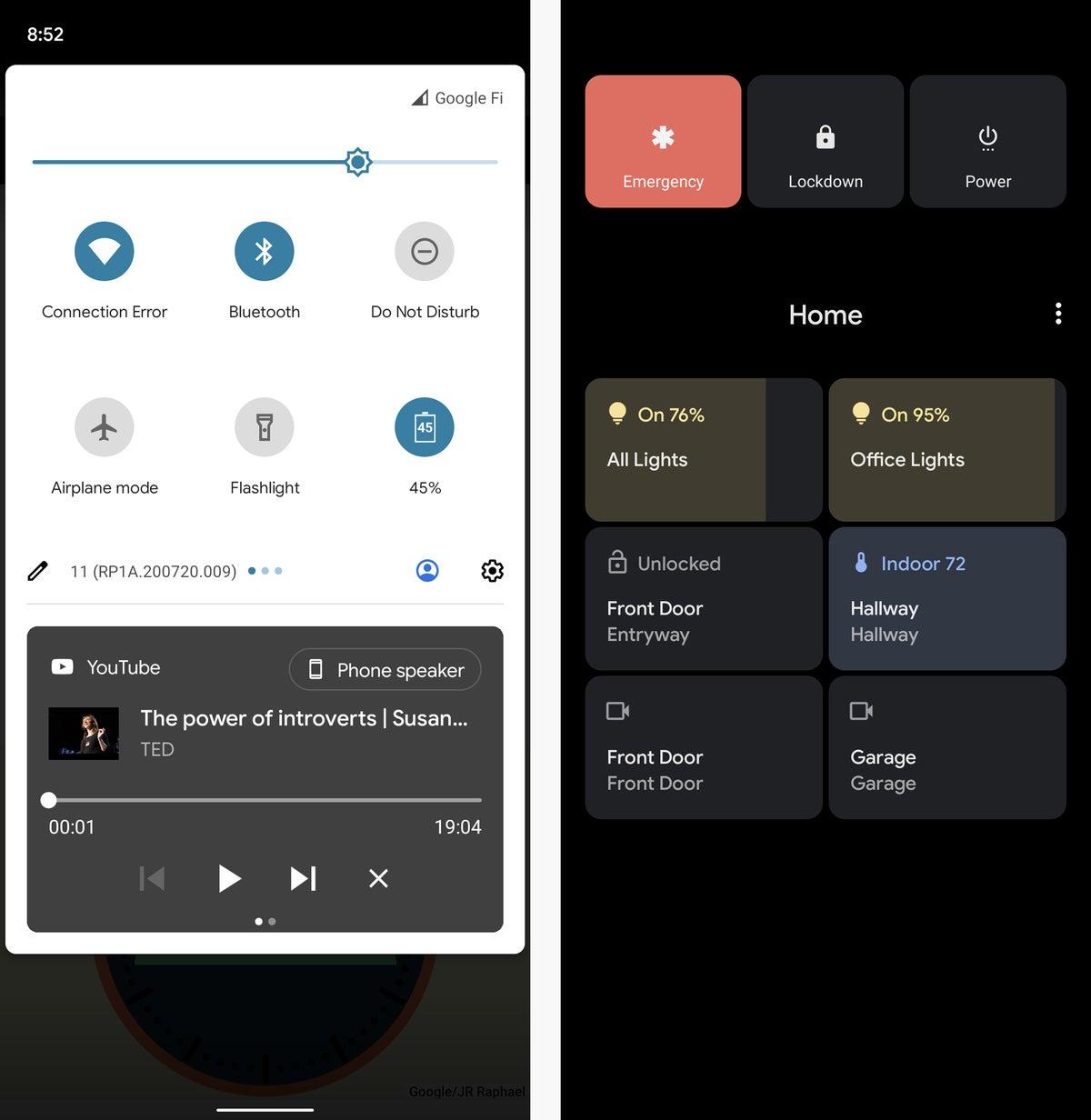 versiones de android android 11 reproductor multimedia controles conectados