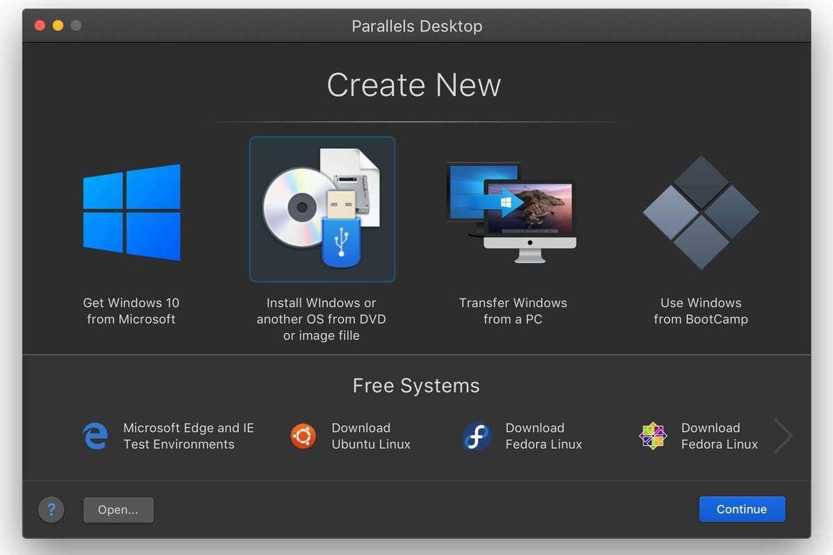create new dark parallels desktop 16 for mac