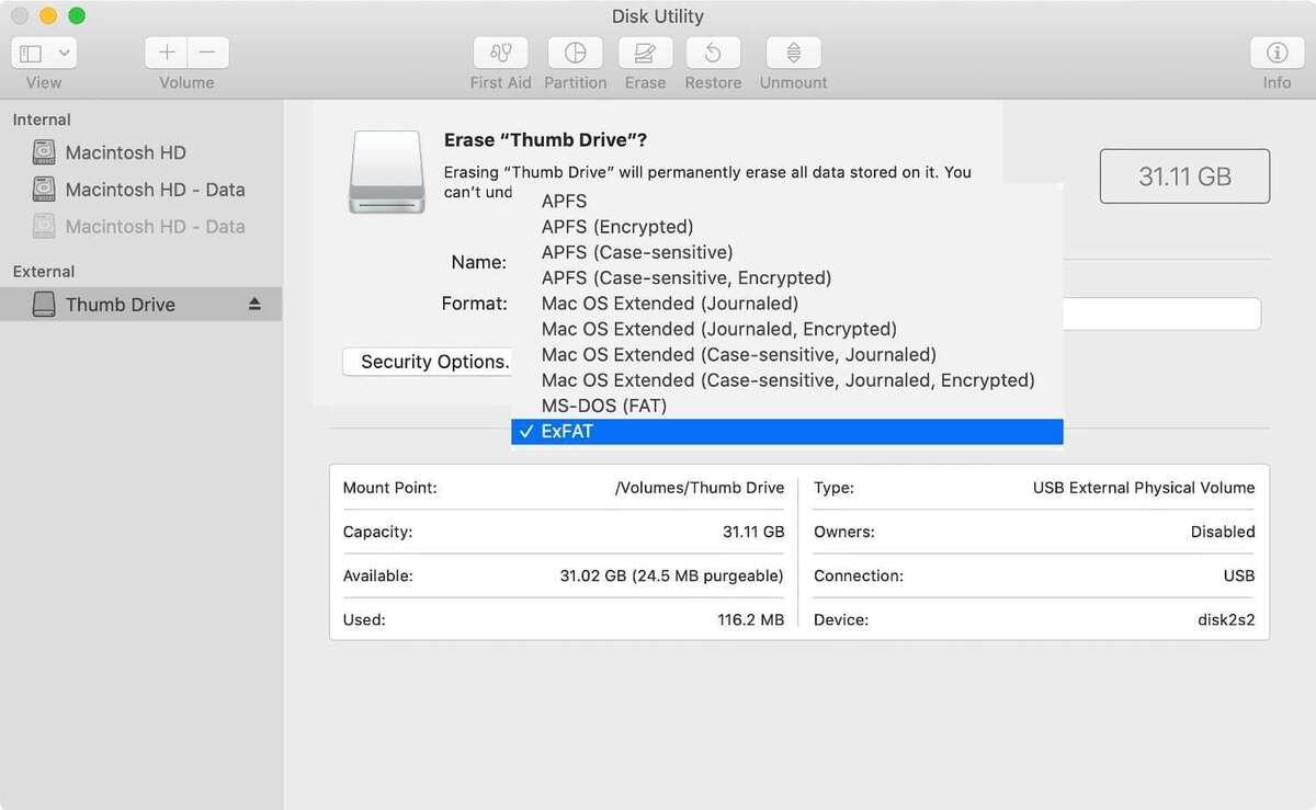 disk utility format exfat