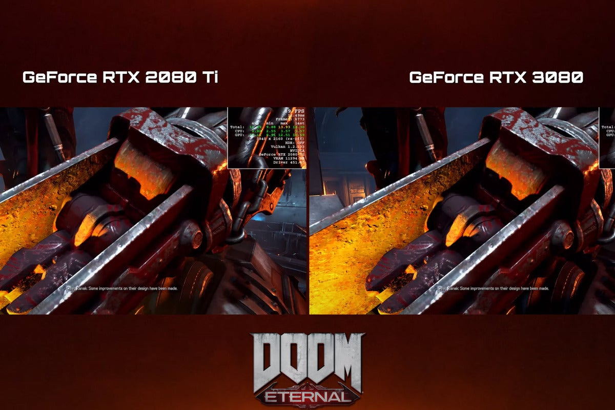Watch the GeForce RTX 3080 get medieval on an RTX 2080 Ti in Doom Eternal thumbnail
