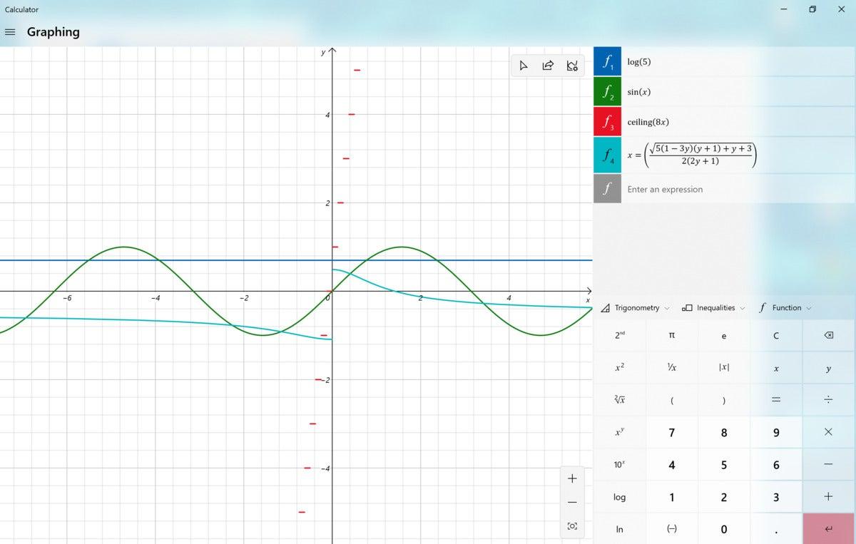 Microsoft Windows 10 20H2 graphing calculator