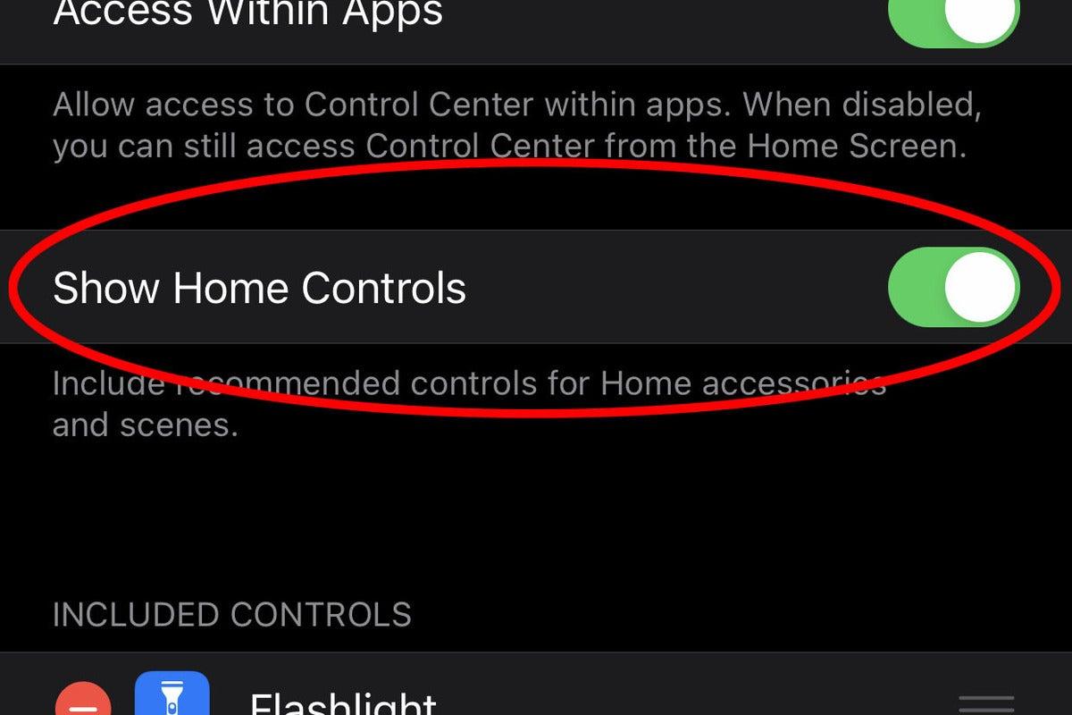 homekit control center settings