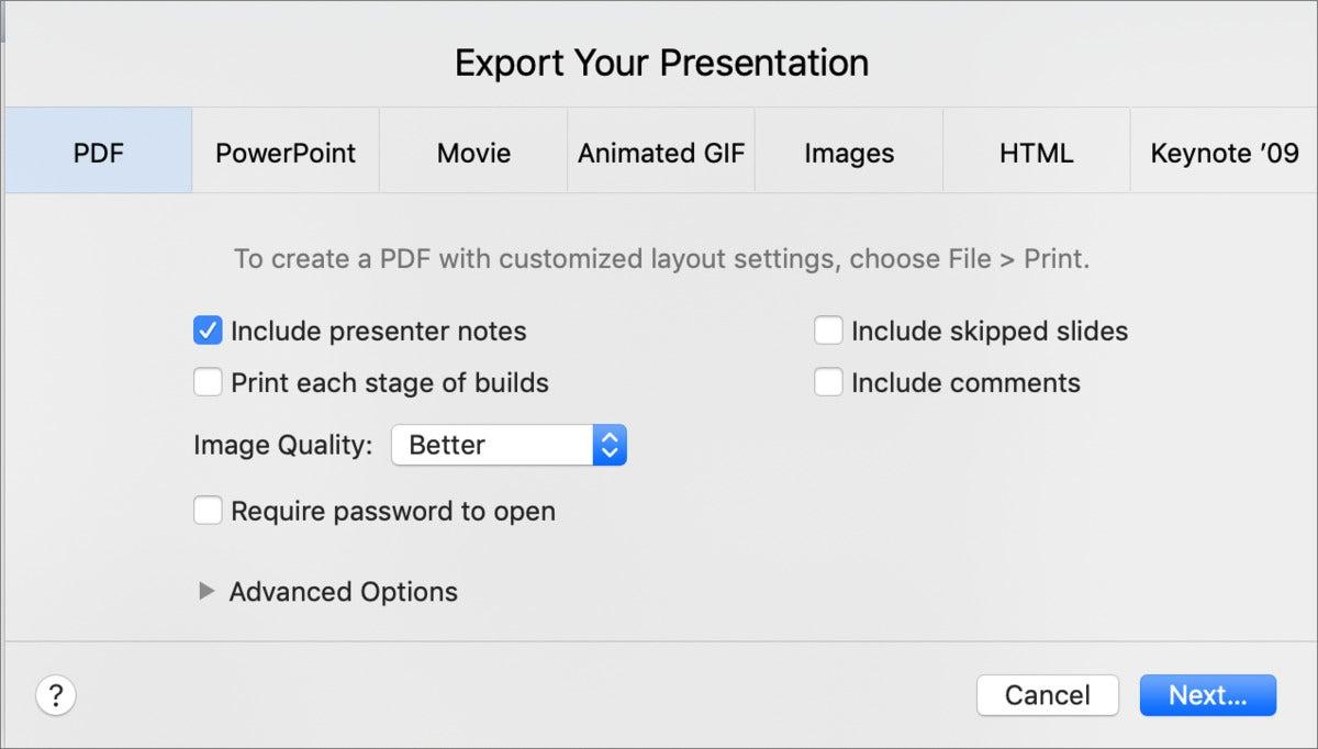 mac911 keynote export notes