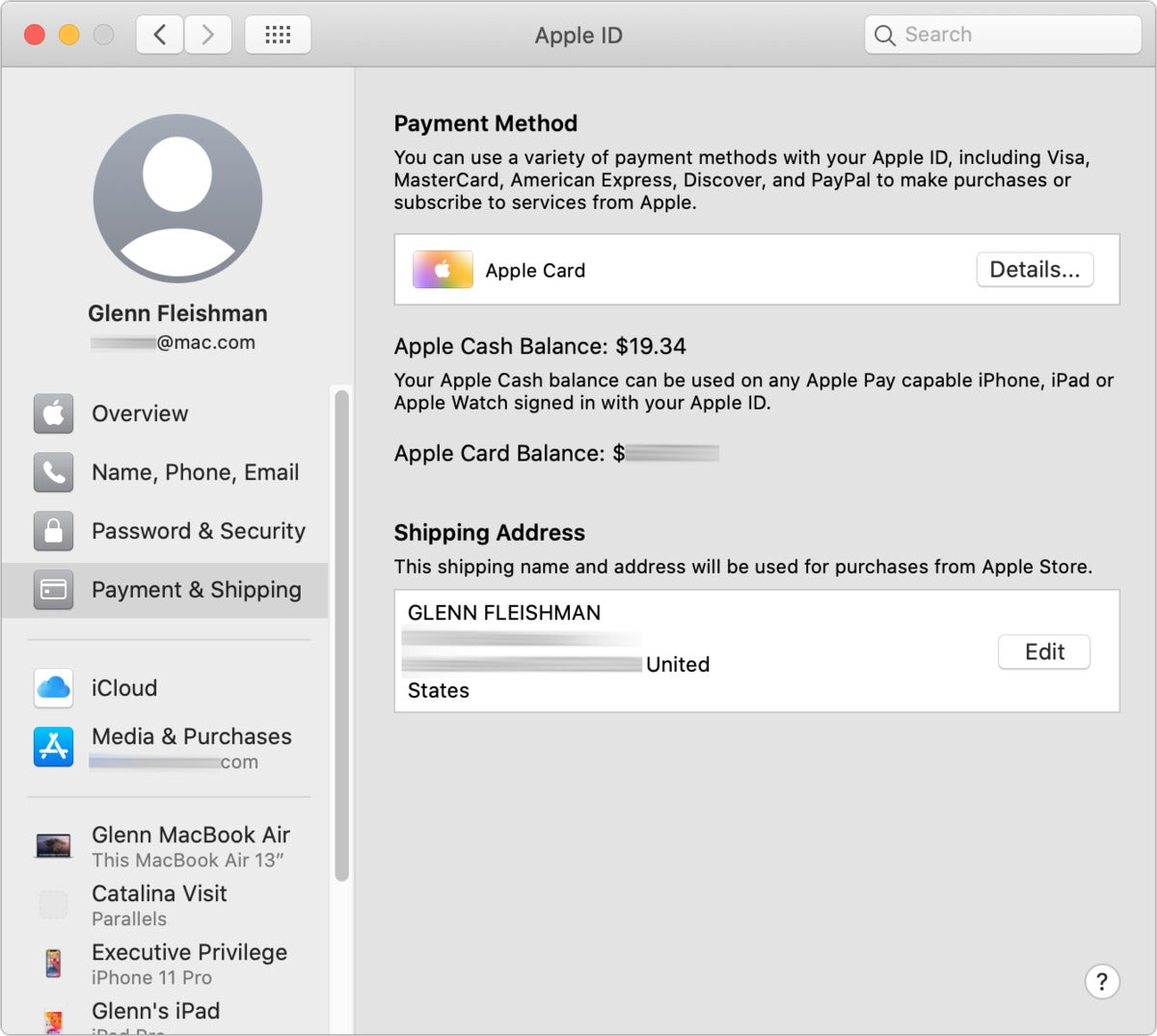 macos catalina payment view bordered