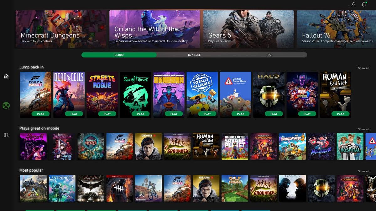 microsoft xbox game pass for android open screen