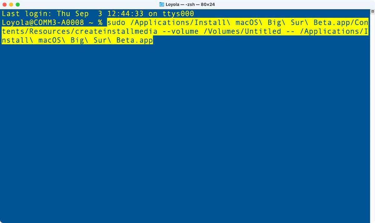 mocos big sur creates boot drive terminal 01