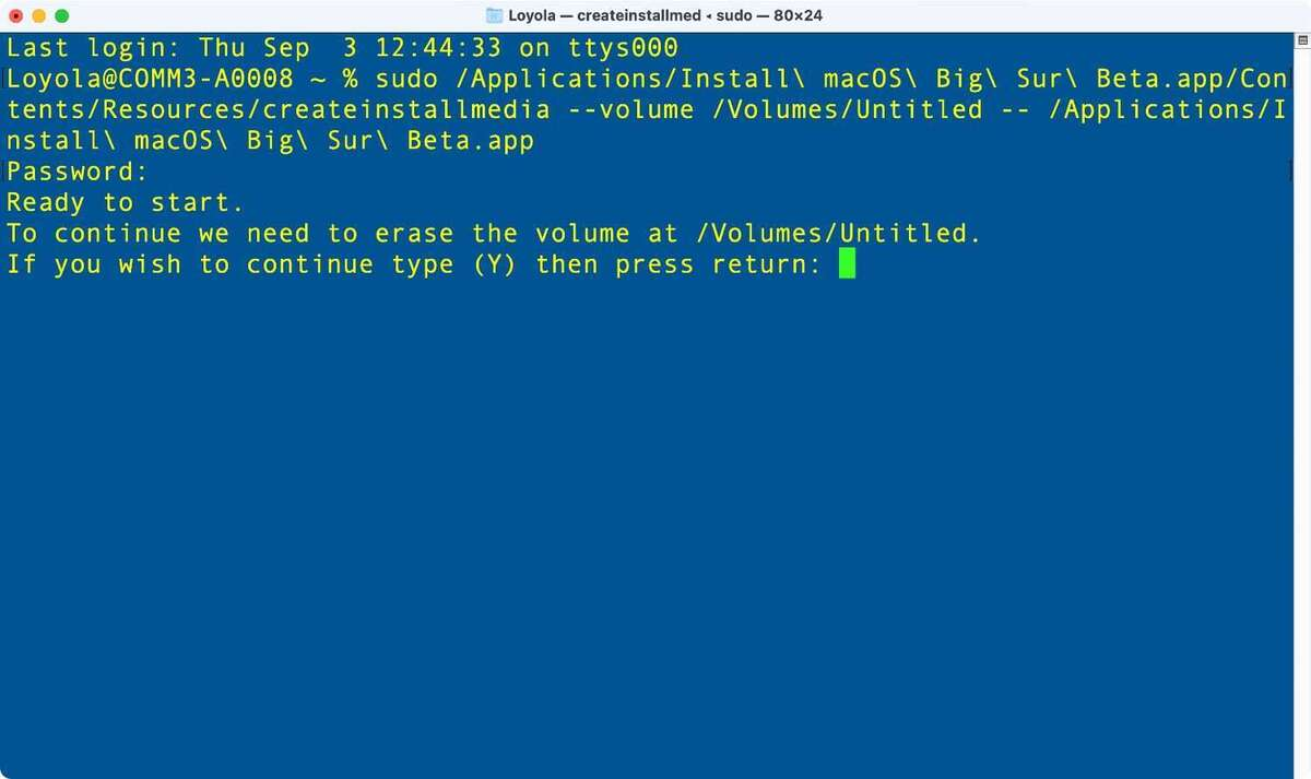 mocos big sur creates boot drive terminal 02