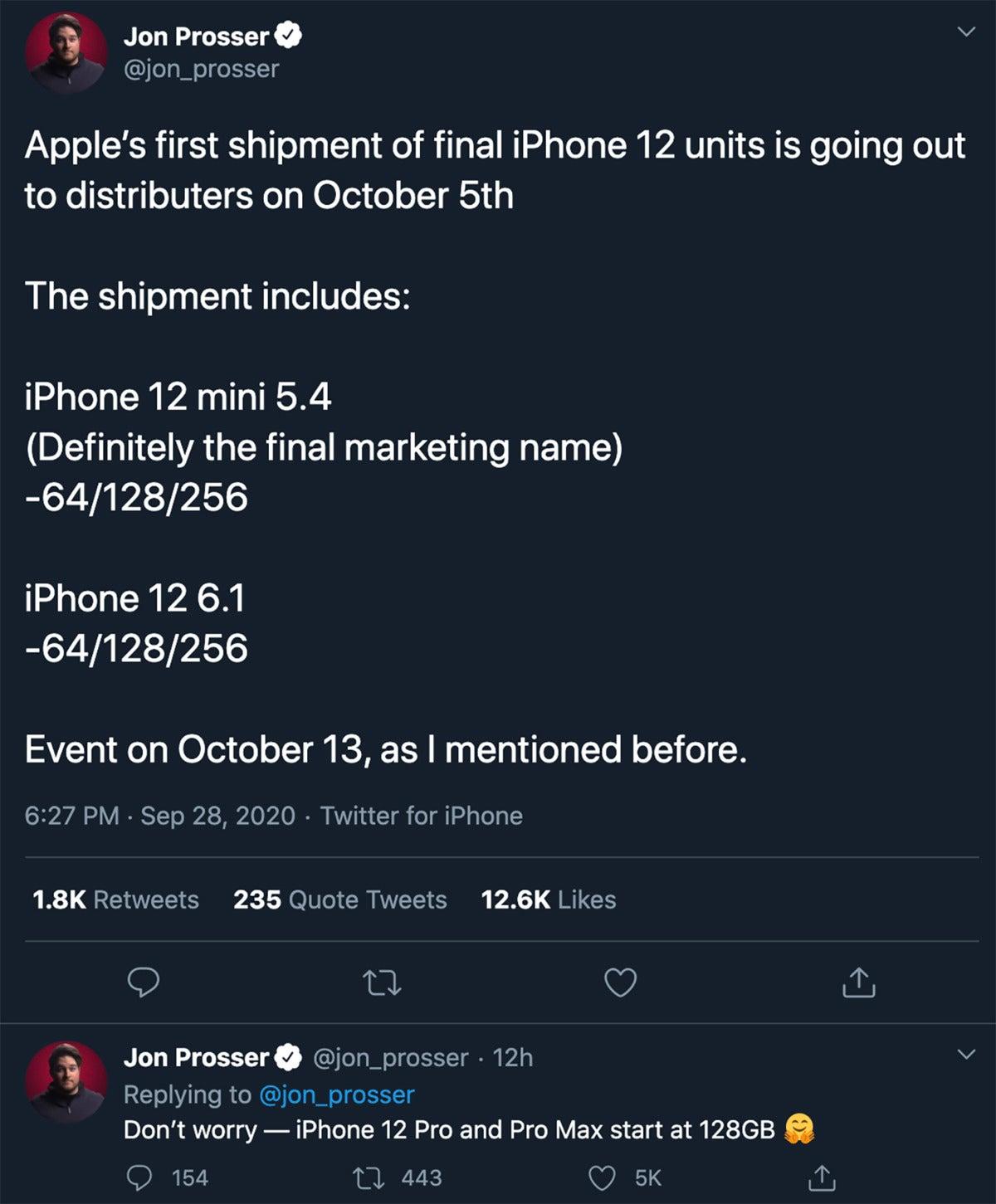 prosser iphone12 tweet