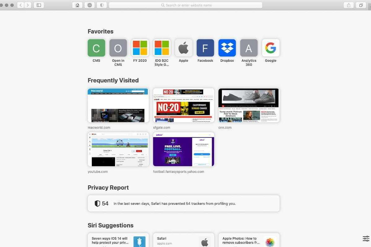 How to modify the Start Page in Safari 14 for macOS