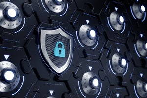 A security system involves a wall of combination locks on interconnected puzzle pieces and a shield.