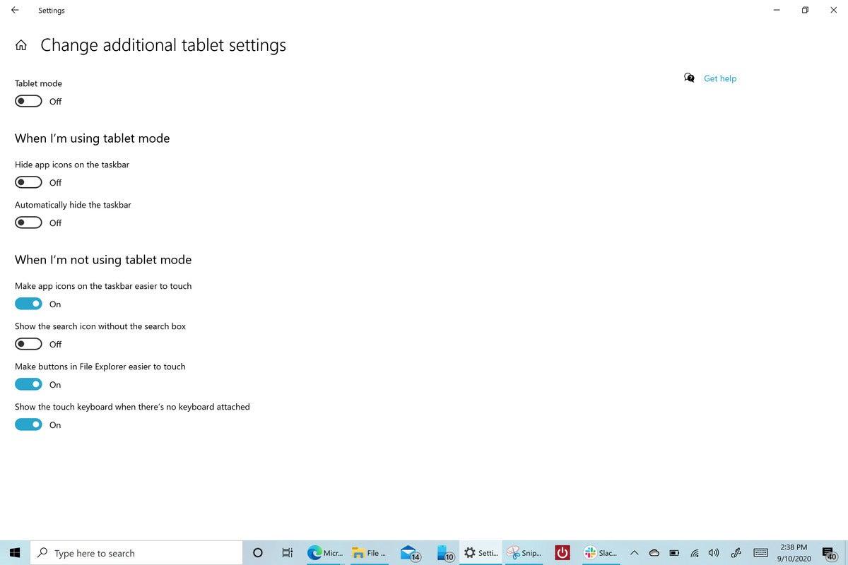 Microsoft Windows 10 20H2 tablet mode off