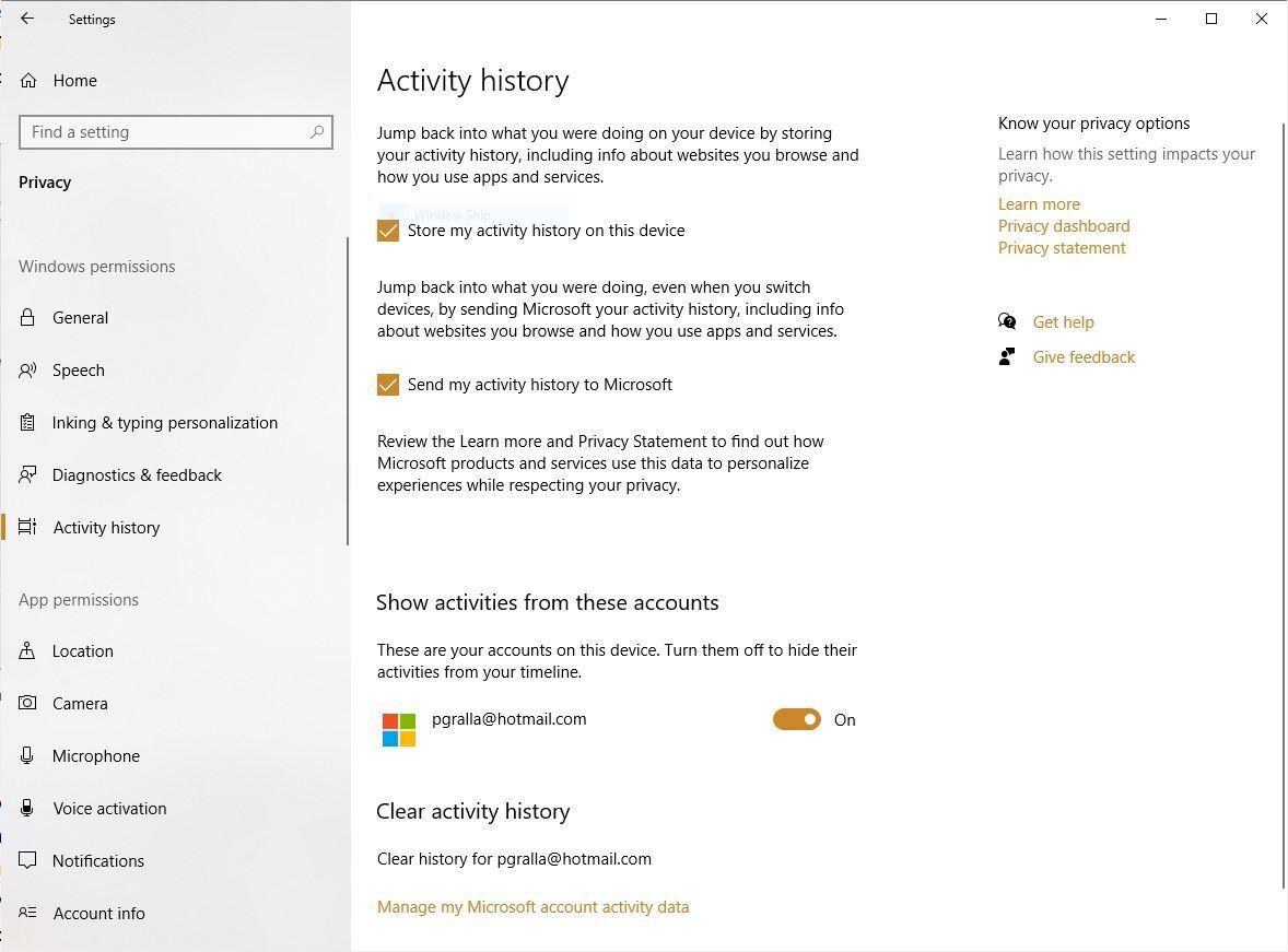 histórico de atividades de privacidade win10 v2004