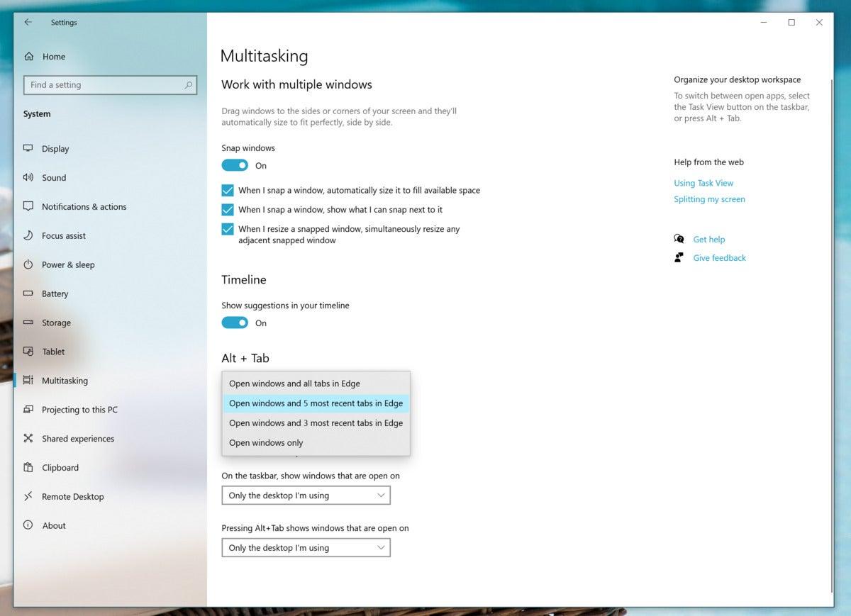 Microsoft विंडोज़ 10 20h2 ऑल्ट टैब सेटिंग्स