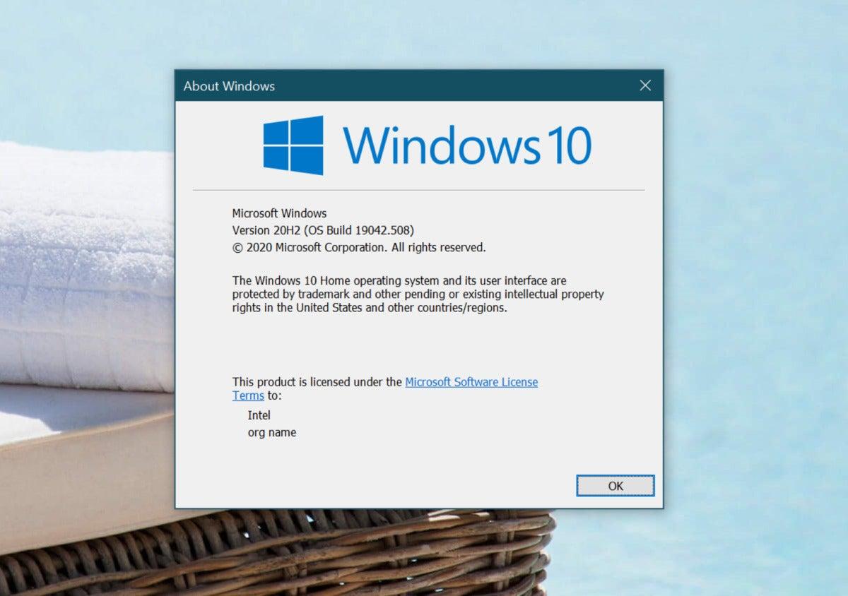 Microsoft विंडोज़ 10 20H2 संस्करण बड़ा है