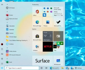 windows 10 20h2 2004 start menu Microsoft