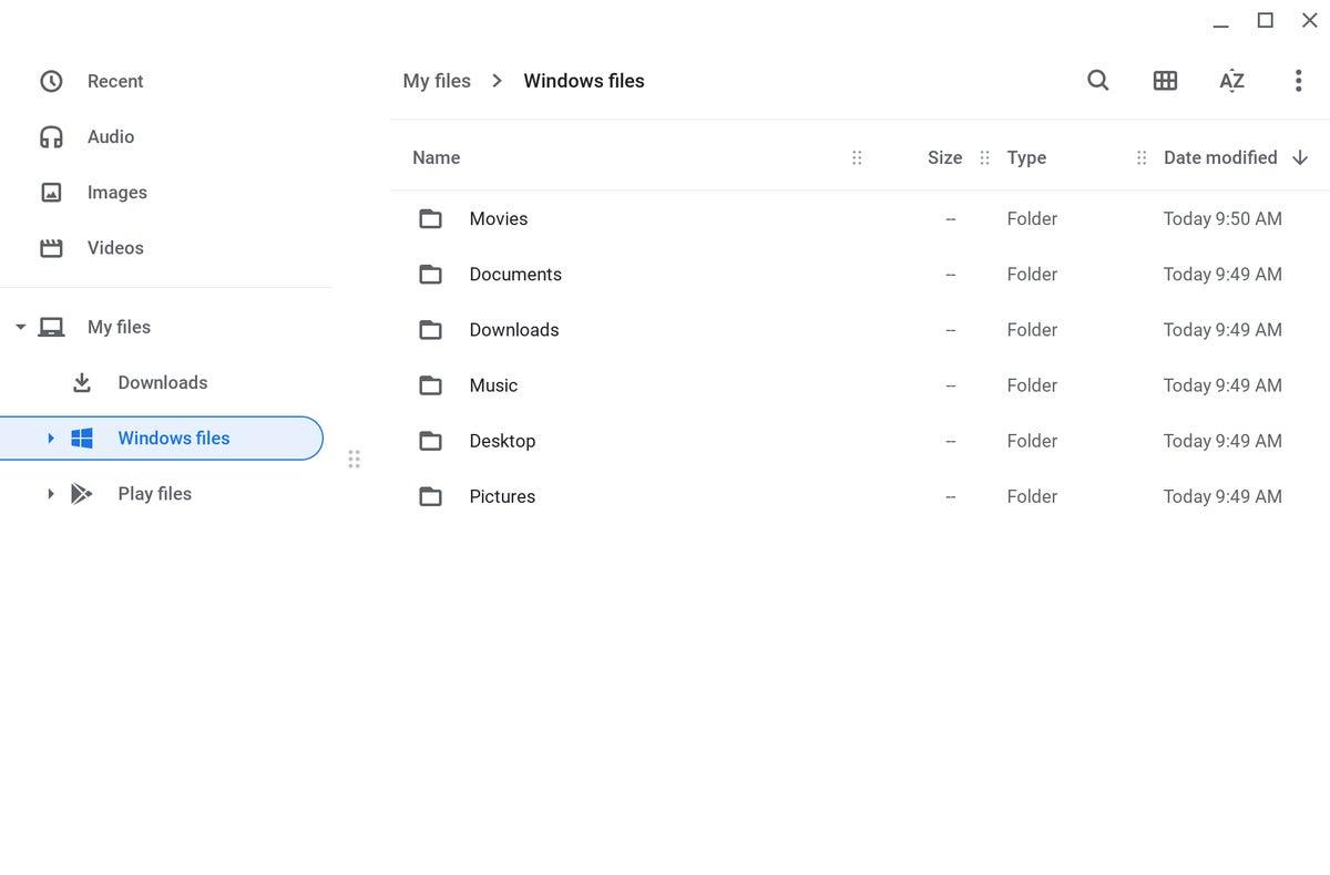 Chrome OS - Windows files