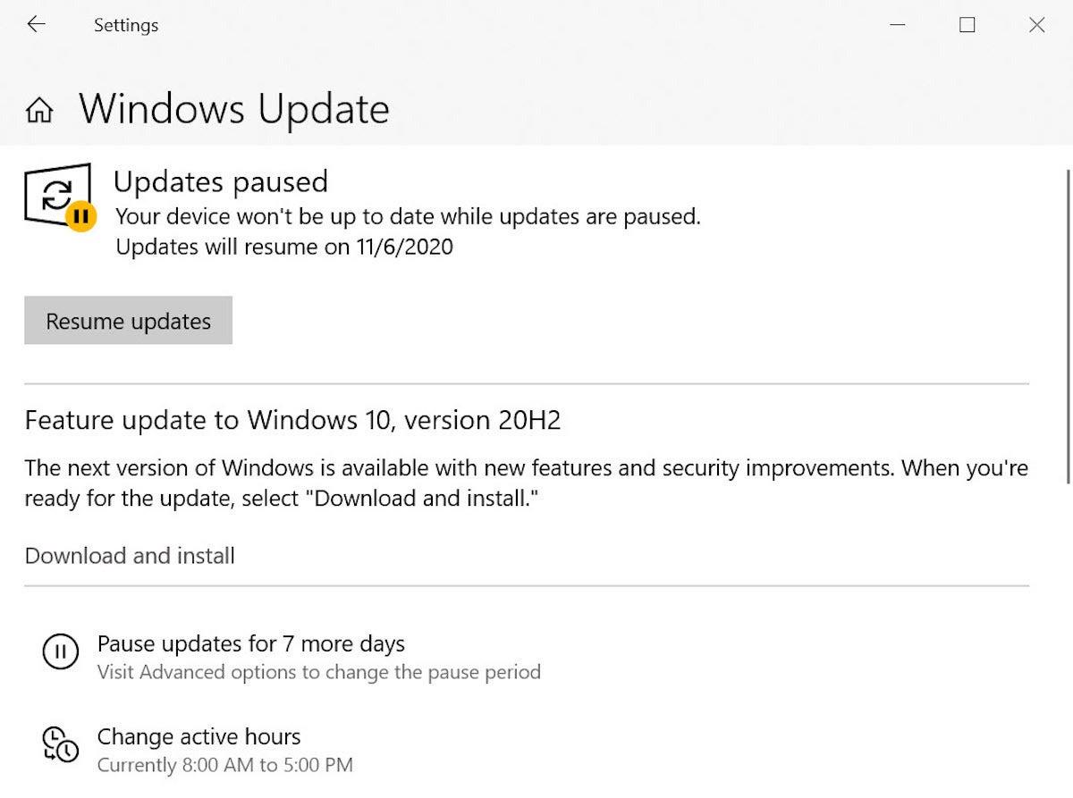 Actualizaciones de Windows 10 1909 en pausa 2020
