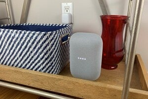 google nest audio on shelf
