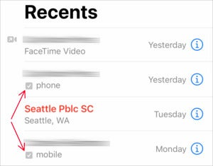 mac911 verified call recents list