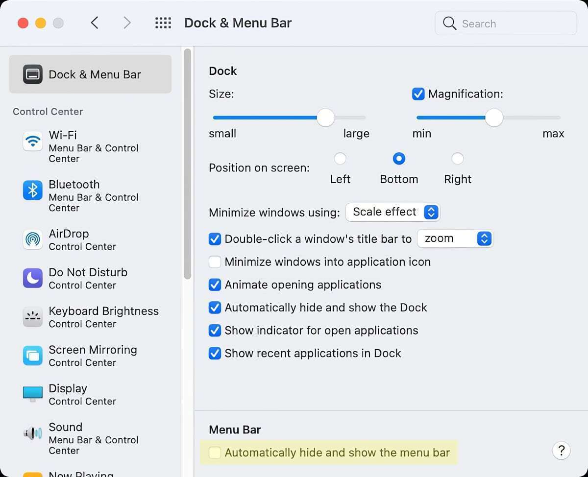 macos big sur auto menu bar seting
