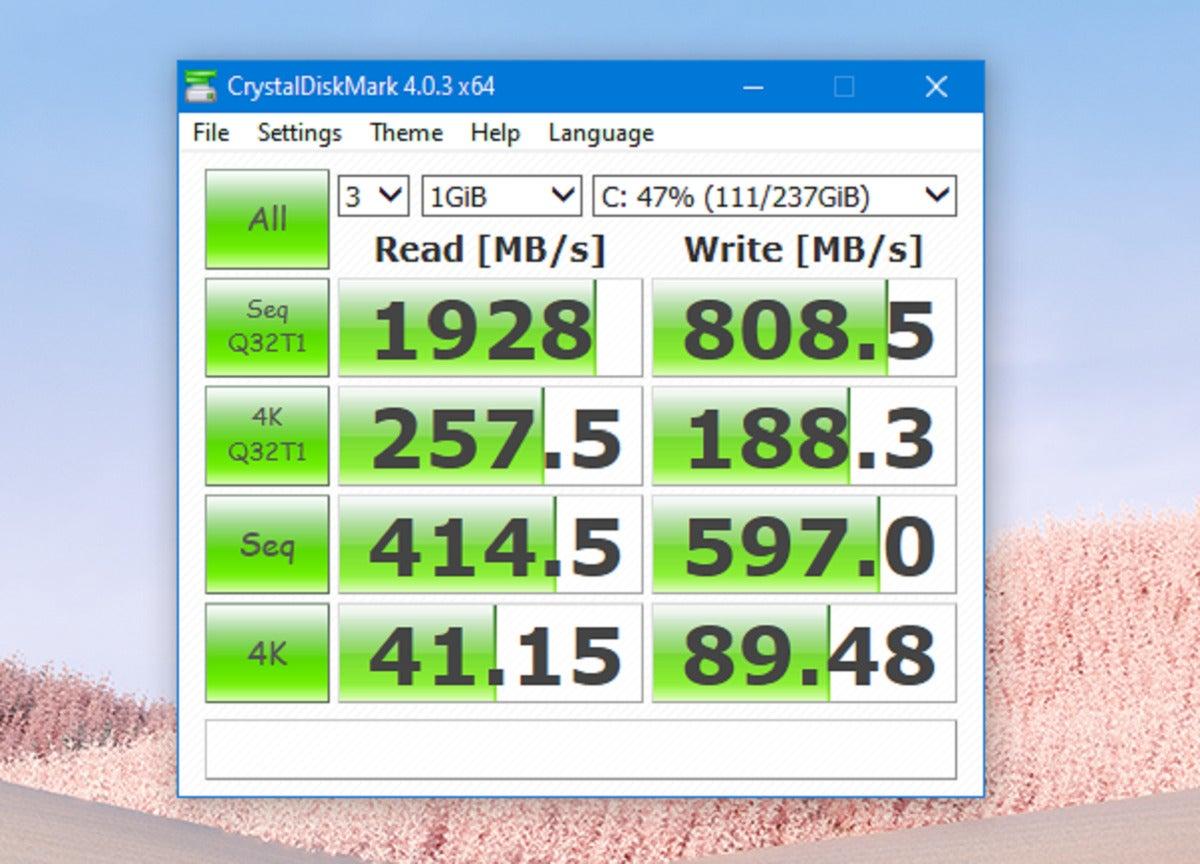 microsoft surface laptop go crystal diskmark