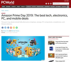 Screenshot of Amazon Prime Day 2019 deals page on PCWorld.com