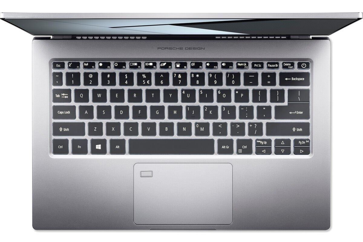 porsche design acer book rs laptop keyboard top view cropped