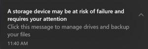 Microsoft Windows 10 SSD failure notification