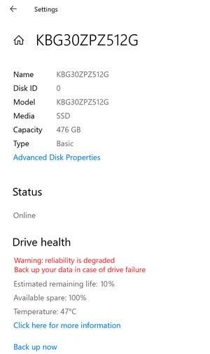 ssd failure settings page