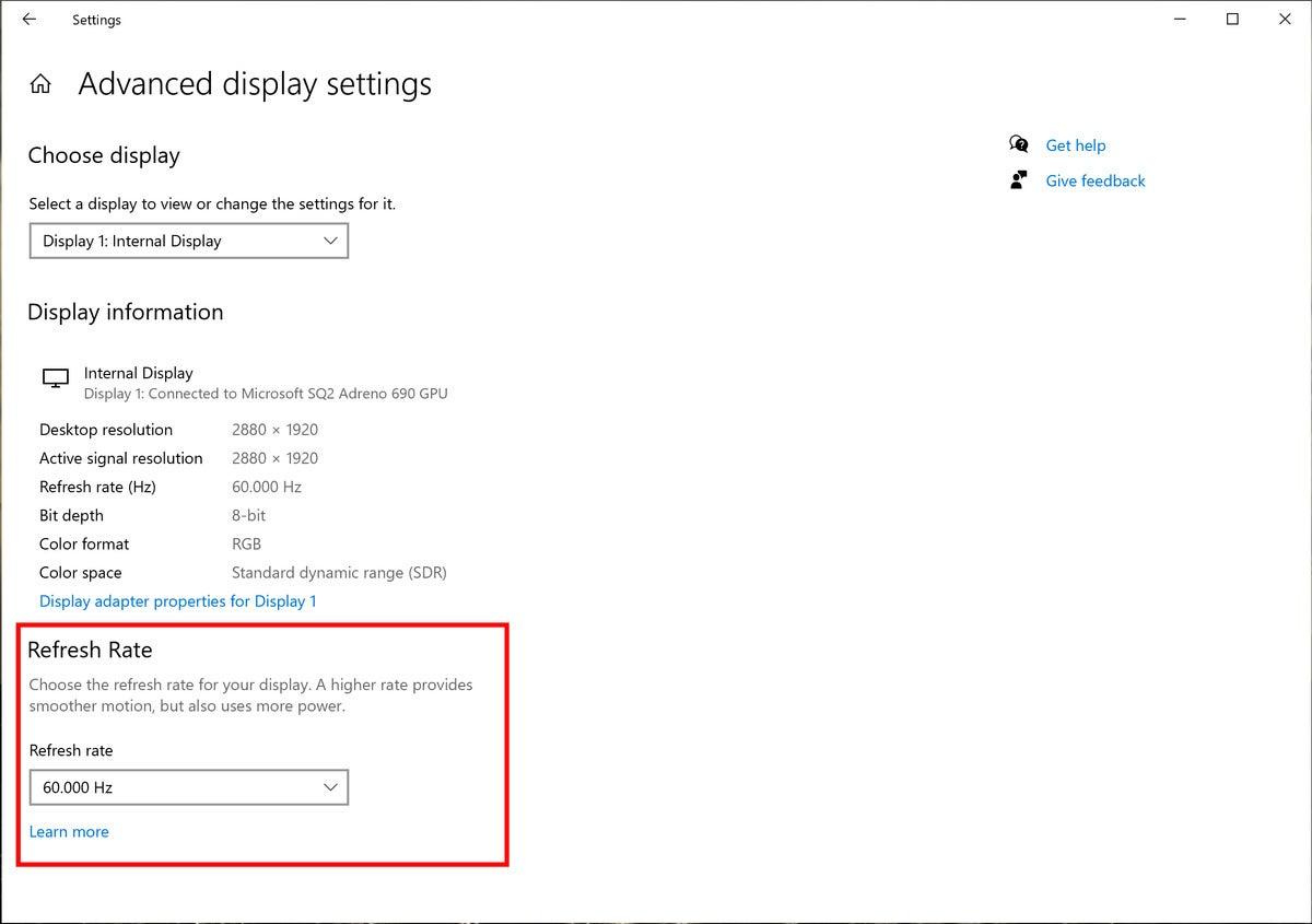 windows 10 refresh rate october 2020 update