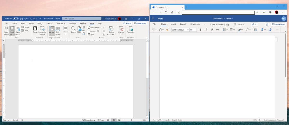 Microsoft word v word PWA