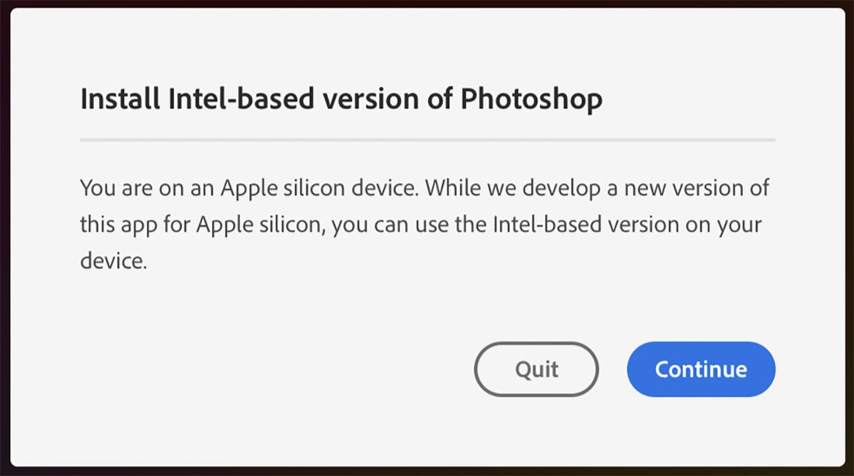 adobe photoshop intel warning