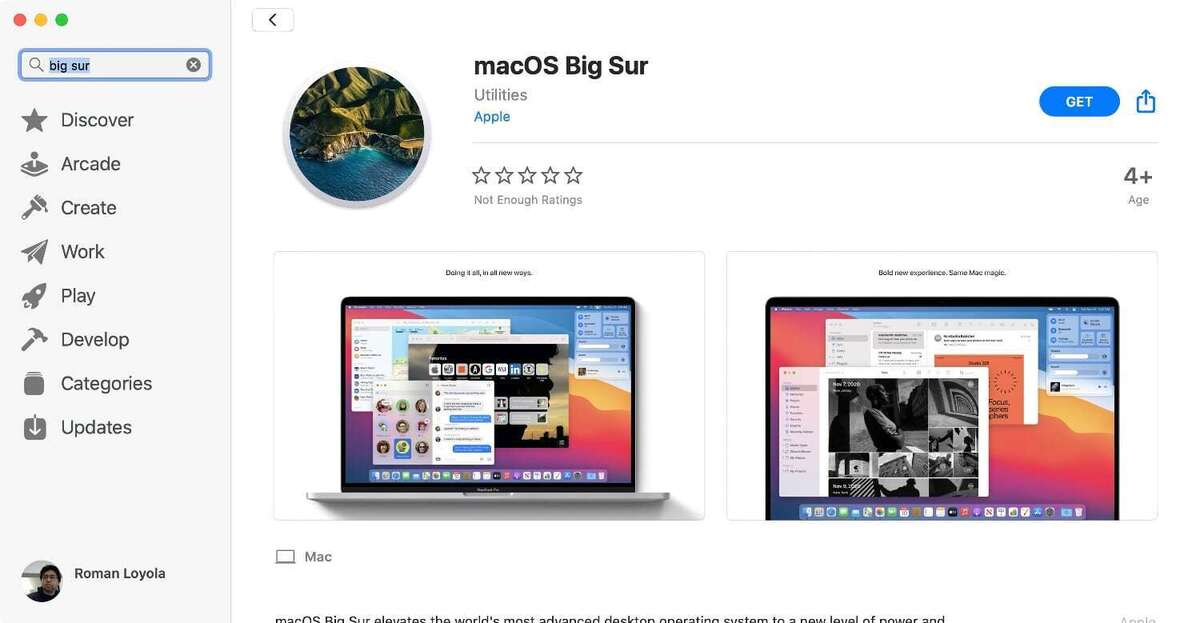 macos big sur app store