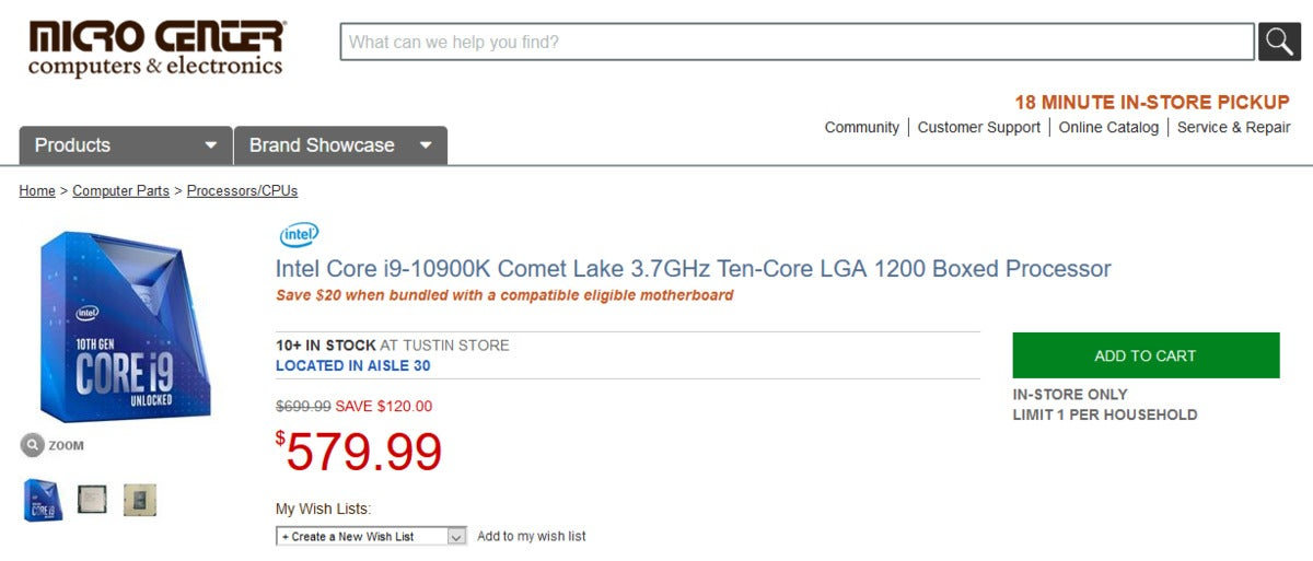 Microcenter listing for the Core i9-10900K showing an offer for a $20 motherboard combo deal