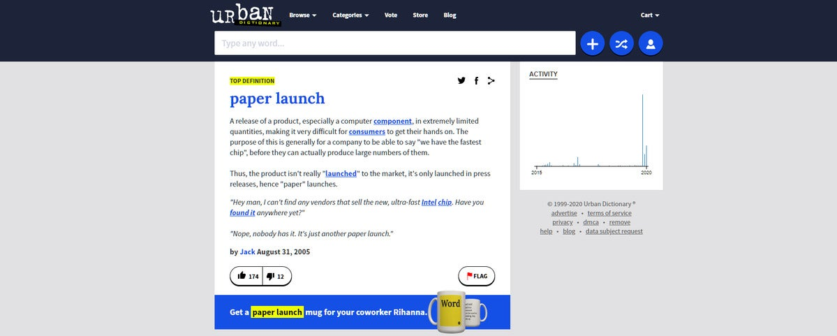 paper launch urban dictionary