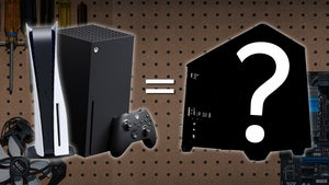 PlayStation 5 and Xbox Series X next to a blacked out PC with a question mark over it