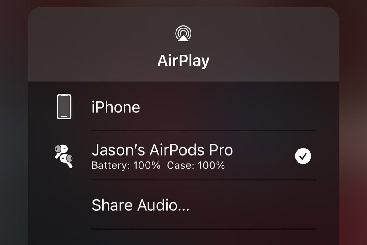 airpods battery control center