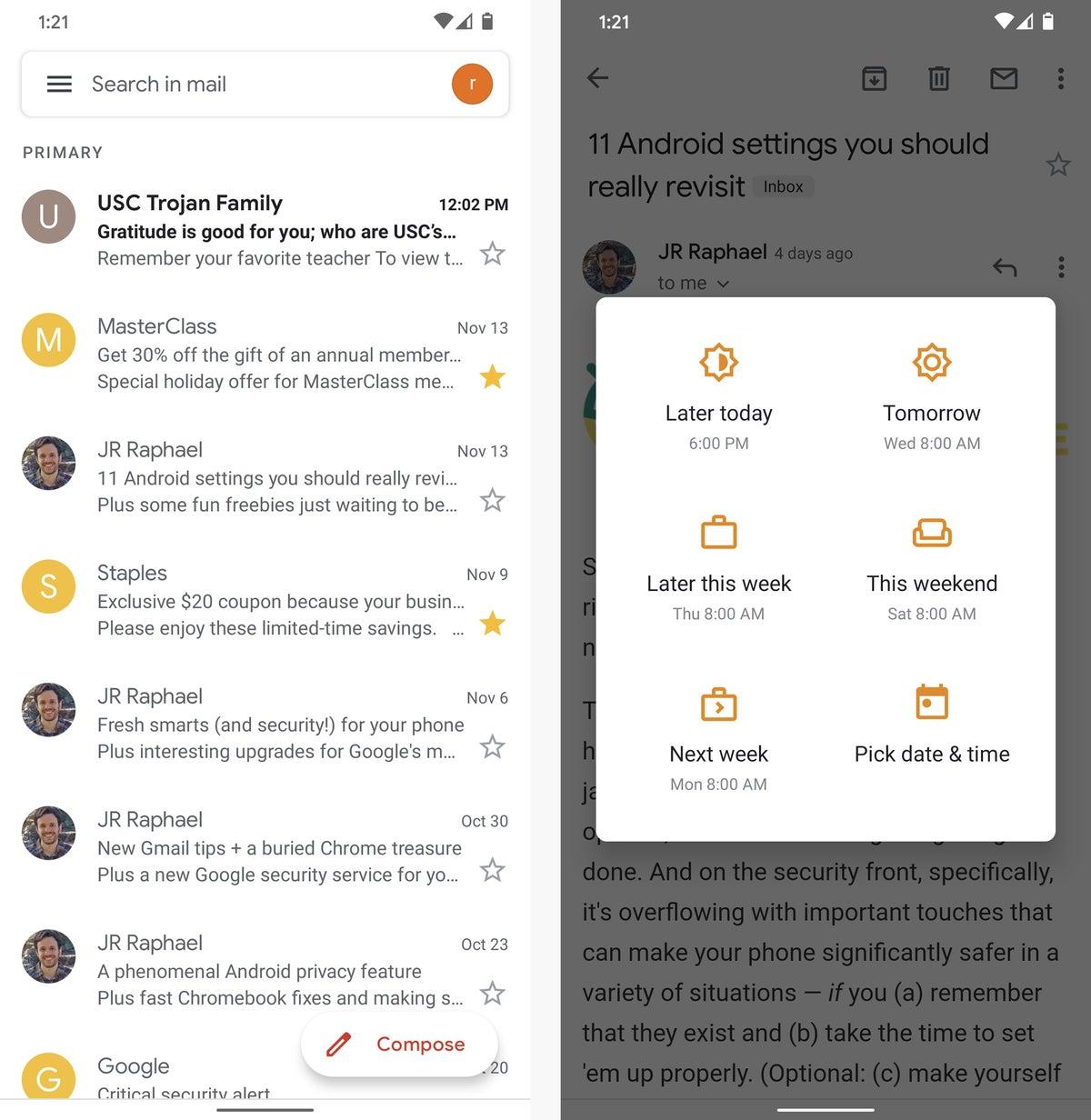 aplicaciones de mensajes de texto de correo electrónico android gmail