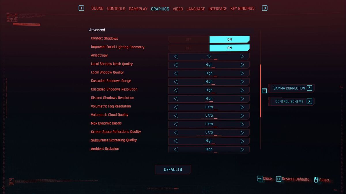 cyberpunk graphics settings
