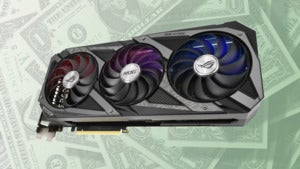 RTX 3090 against a backdrop of dollar bills