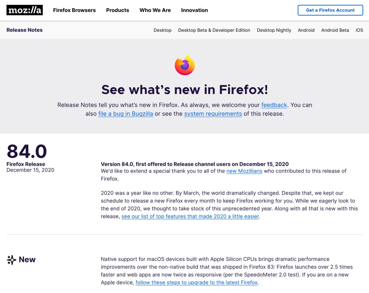 Firefox 84 changes