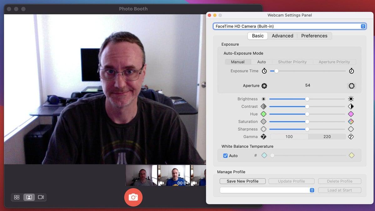 webcam settings facetime