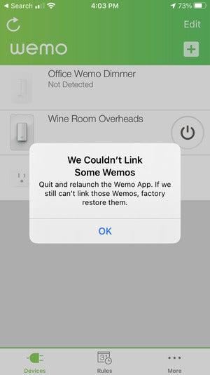 پیام خطای اتصال wemo