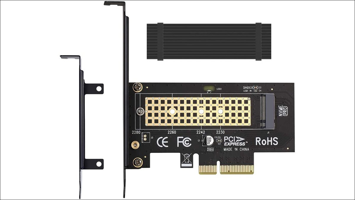 M.2 NVMe to PCIe 3.0 x4 card adapter with aluminum heatsink