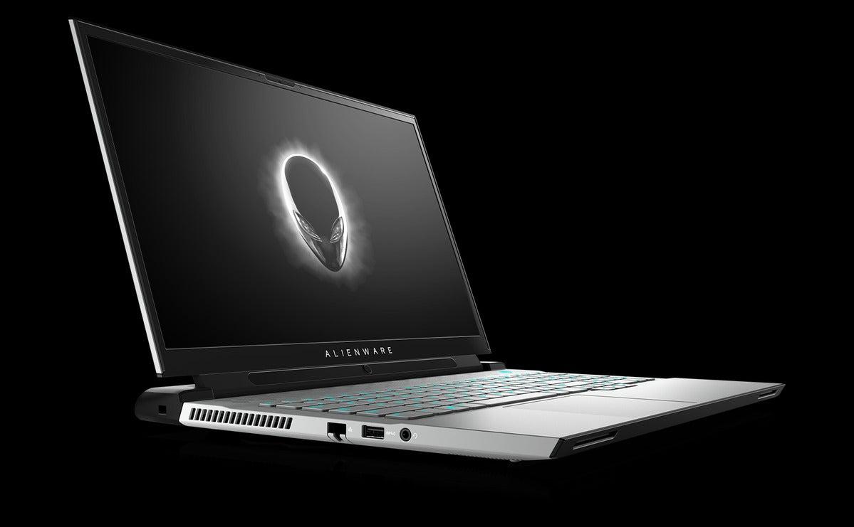 alienware m17 r4 سفید با tobii ایستاده در سمت راست