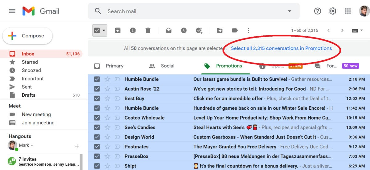 cleaning up gmail all promotions