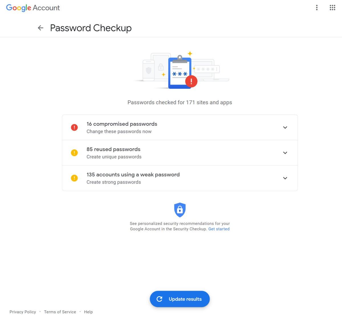 google password checkup inline